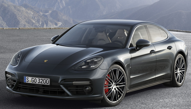 2017 Porsche Panamera, Front-quarter view of the European version., gallery_worthy