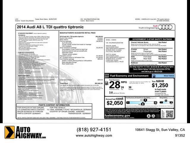 2014 Audi A8 L 3.0 TDI quattro AWD