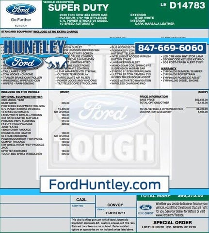 2020 Ford F-350 Super Duty Platinum Crew Cab LB DRW 4WD