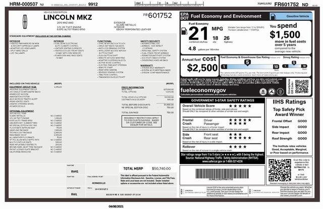 2015 Lincoln MKZ V6 AWD