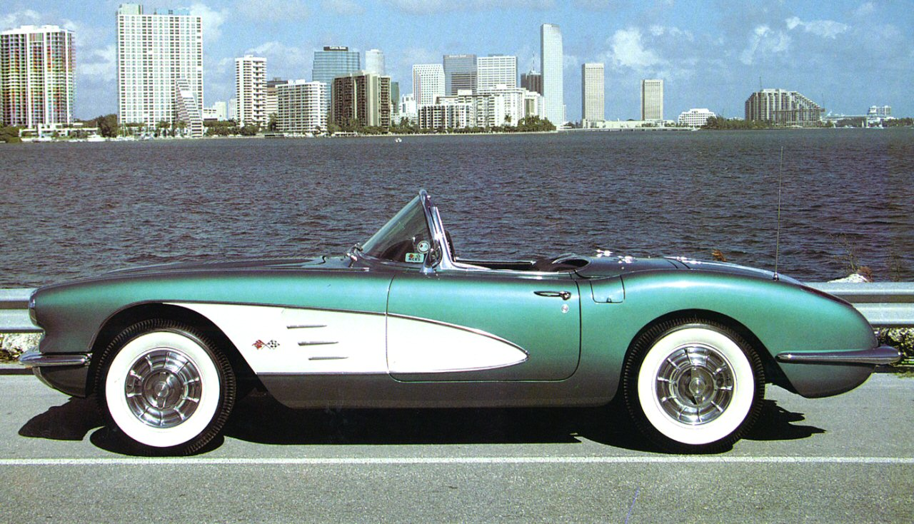 1958 Chevrolet Corvette Convertible Roadster, 1958 Corvette Convertible Side View In green with white side panels