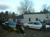 1984 Toyota Cressida, my friends car and mine on his is a 1989 nissan 240sx and me and my 84 cressida, still at the shop