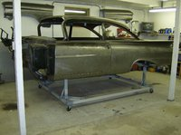 1959 Chevrolet Biscayne, the car was fully assembled then the next week the body was put on this jig i made for real easy access for finishing the underside.one person can easily move the body anywher...