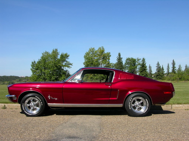 1968 Mustang Fastback J code candy apple brandy wine leather interior 418 hp