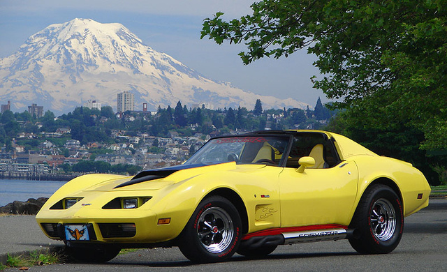 1977 Chevrolet Corvette Coupe, Taken at Tacoma, WA Ruston Drive along the waterfront with Mt Rainier in the background., exterior, gallery_worthy
