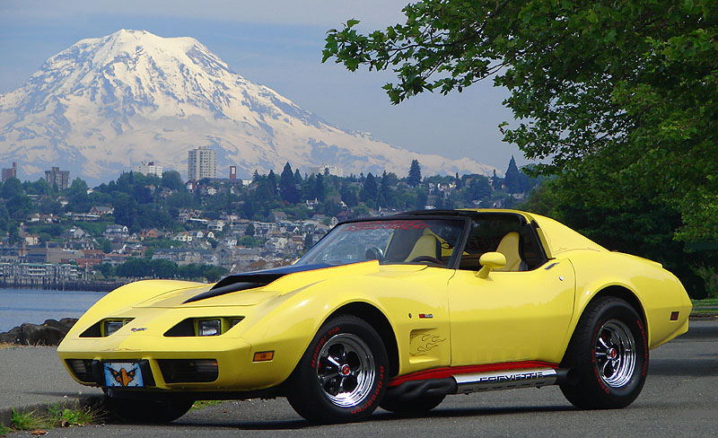 1977 Chevrolet Corvette Coupe, Taken at Tacoma, WA Ruston Drive along the waterfront with Mt Rainier in the background., exterior