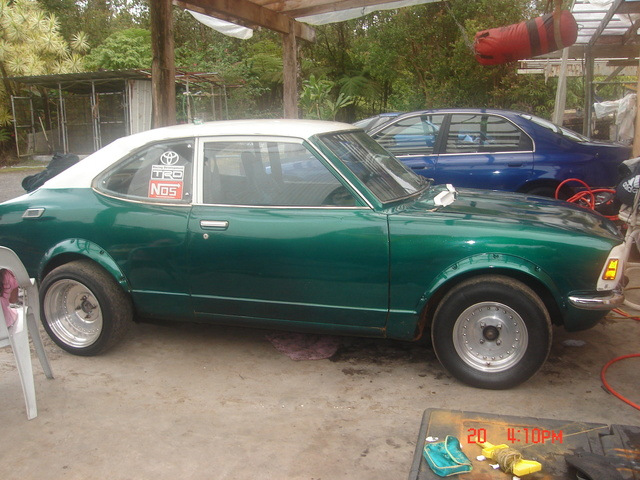 """1972 Toyota Corolla SR Coupe, 3T MOTOR W/ MAKUNNI DUAL 44'S A 368 ANGLE CAM HIGH COMPRESSION PISTONS FUEL CELL IN TRUNK, FULLY READY FOR DRAG RACING IN HAWAII, """"GIRL POWER"""", ..."""