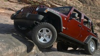 2008 Jeep Wrangler Unlimited Rubicon 4WD, Front-quarter view, manufacturer, exterior