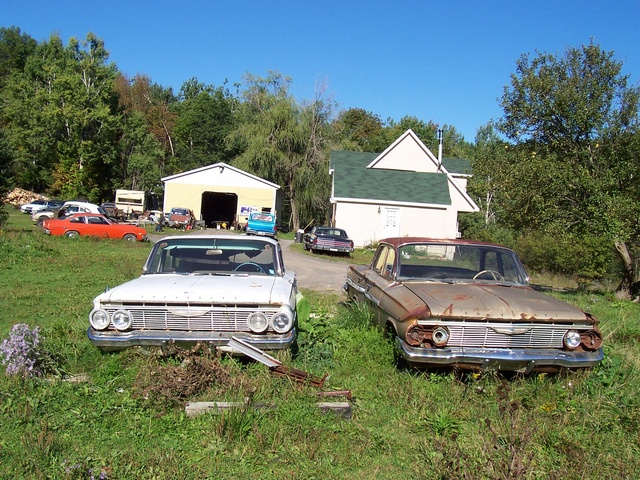 1961 Chevrolet Impala, The brown one was his parts car. It's actually the better car it a grandmas car parked for a new model it has 61,000 miles. he took the engine out but I found it all., g...
