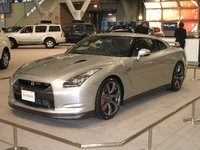 Front-quarter view of a right-hand drive 2009 Nissan GT-R on display at the 2007 New England International Auto Show, exterior