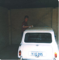 1963 Morris Mini, That's me at 18 giving my 1st car a cut and polish.  I think this photo was taken in 1986