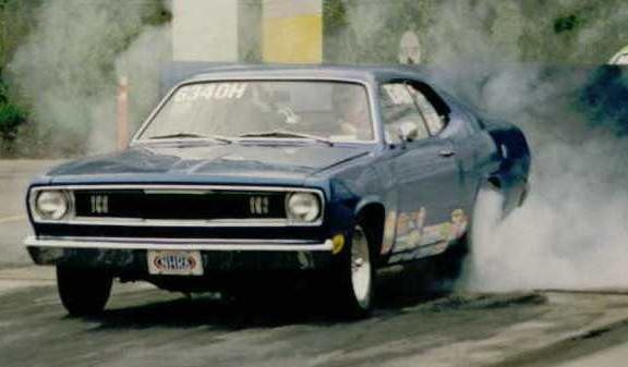 1971 Plymouth Duster, one of the tamer burnouts
