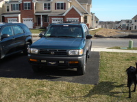 1996 Nissan Pathfinder 4 Dr SE 4WD SUV, Front w/ a little shot of Molly, exterior