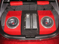 "2002 Ford Focus ZX3, 2 10"" Kenwood Typhoon subs, 920W Kenwood amp, custom enclosure., interior"