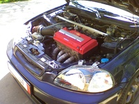 1997 Honda Civic CX Hatchback, new CTR red valve cover and headers wrapped., engine