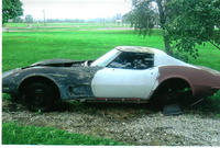 1973 Chevrolet Corvette Coupe, This how I found it in Ohio.  No engine or transmission, no wheeles. lots of parts., what, CHALLENGE, exterior, a