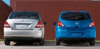 2009 Nissan Versa, Sedan and Hatchback Back View, exterior, manufacturer