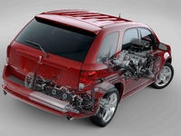 2009 Pontiac Torrent, Back Right Quarter Interior/Exterior View, manufacturer, exterior, interior