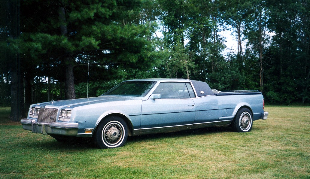 1984 Buick Riviera Diesel CUSTOM.  This one is a FREAK!  The pics are outdated, but this is it.  Grandpa built it, and now my brother owns it.  Had the trunk chopped off, frame extended, and molded on...