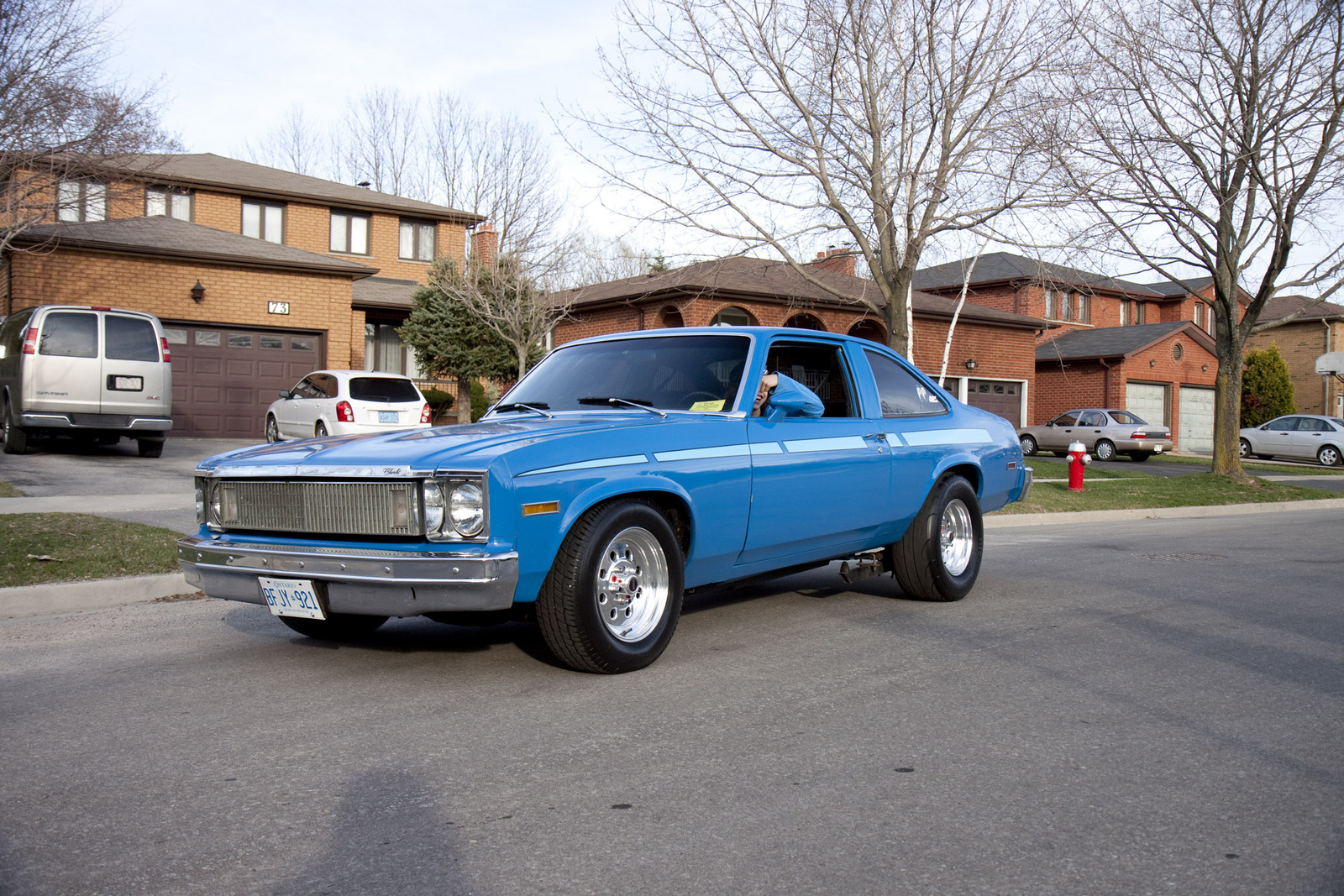 1974 Chevrolet Nova on rotisserie for automobiles