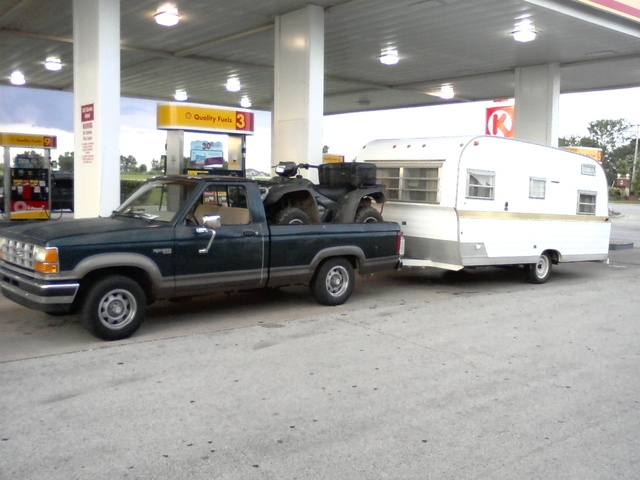 1989 Ford Ranger, Tough little truck. This is the heaviest load I ever pulled with it. 3200 lb camper with high wind profile, plus 600 lb ATV. , exterior, gallery_worthy