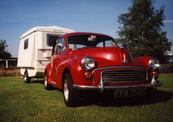 1968 Morris Minor, Flo The Morris Minor pulling a Portafold folding caravan
