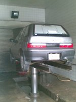 1996 Suzuki Cultus, at the service station for wash., exterior
