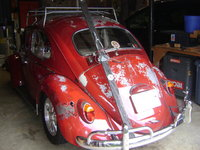 1964 Volkswagen Beetle, Rear shot with ski rack, exterior