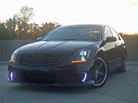 2004 Nissan Maxima SL, it actually faded to purple in the back my body kit is from andysautosports i have sparco seats nrg racing steerin hub  nrg steering wheel white street glow lights above passeng...