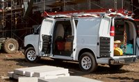 2011 Chevrolet Express Cargo, Back three quarter view with open doors. , manufacturer, exterior, interior