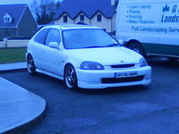 1997 Honda Civic CX Hatchback, bright white, spoon wheels c.f spoiler and 4'' exhaust, exterior