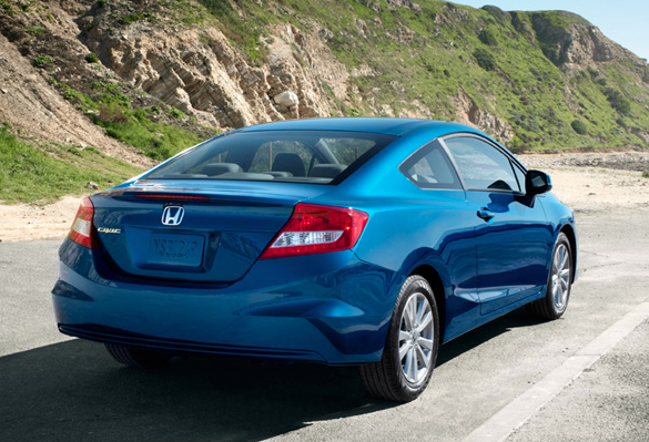 2012 Honda Civic Coupe, Back quarter view in motion., manufacturer, exterior