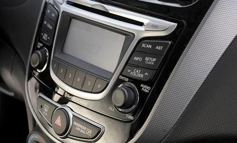 2012 Hyundai Accent, Close-up of stereo., exterior, interior, manufacturer