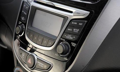 2012 Hyundai Accent, Close-up of stereo., interior, exterior, manufacturer