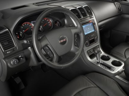2012 GMC Acadia, Close-up of steering wheel copyright AOL Autos. , manufacturer, exterior, interior