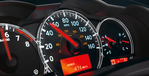 2012 Nissan Altima Coupe, Close-up of instrument gages , manufacturer, interior