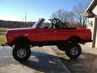 "1972 Chevrolet Blazer, My 1972 K5 - Cardinal Red Vortech 350 9"" lift, exterior"