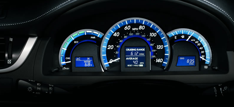 2012 Toyota Camry, Close-up of instrument gages. , engine, manufacturer, interior