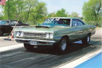 1968 Plymouth Satellite with a 440 chrysler. Goes around 8 seconds in the 1/8th, exterior