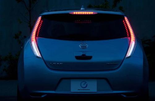 2012 Nissan Leaf, Back View. , exterior, manufacturer