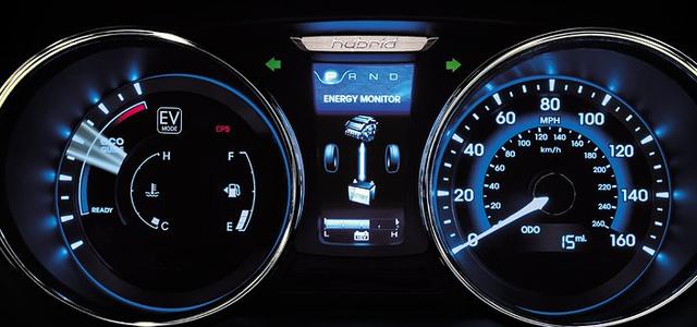 2012 Hyundai Sonata Hybrid, Close-up of instrument gages. , interior, manufacturer