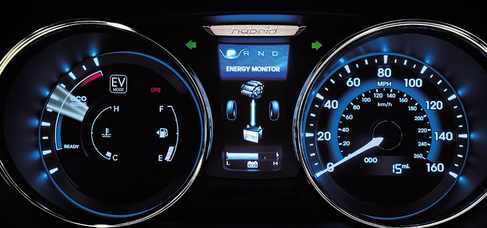 2012 Hyundai Sonata Hybrid, Close-up of instrument gages. , manufacturer, interior