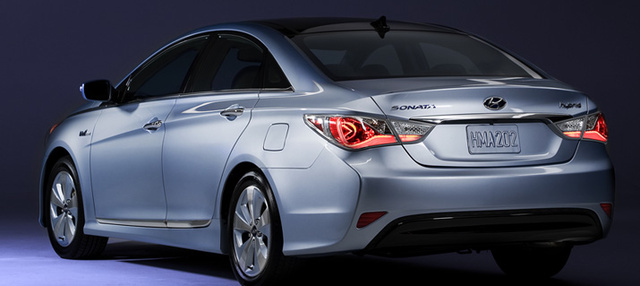 2012 Hyundai Sonata Hybrid, Back quarter view. , exterior, manufacturer, gallery_worthy
