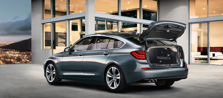 2012 BMW 5 Series Gran Turismo, exterior rear quarter and cargo view, manufacturer, exterior