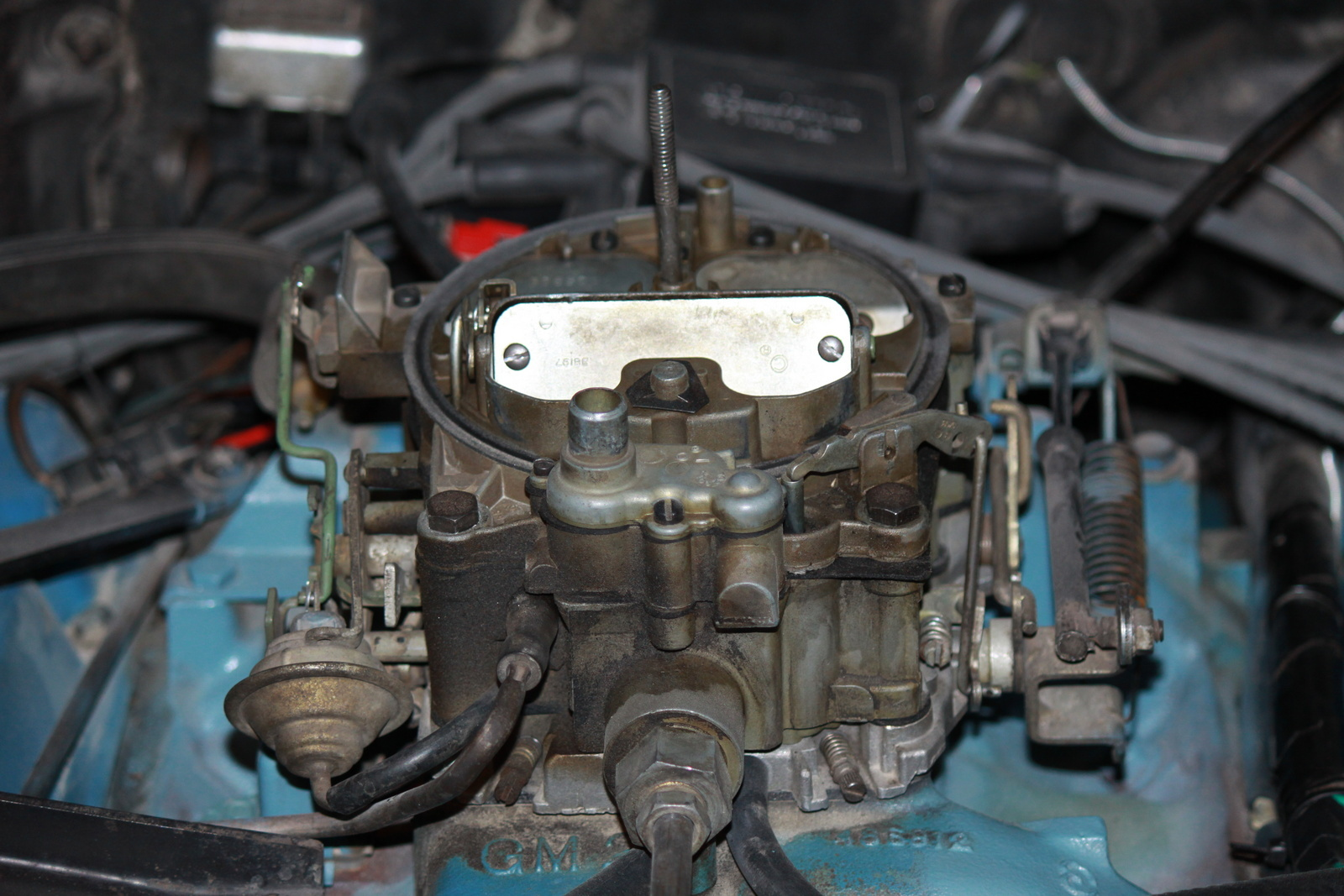 You can sure smell the gas though when you pick up the hood. Heres is  another picture of the carb.