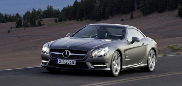 2013 Mercedes-Benz SL-Class, Front-quarter view. Copyright Mercedes-Benz, exterior, manufacturer