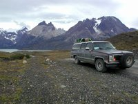 1986 GMC Sierra, This GMC Suburban / Sierra classic 1500 make:1986, has made it from Deadhorse, Alaska to Ushuaia, Argentina - i.e. all of the Panamericana. Shown in front of Torres del Paine., exteri...