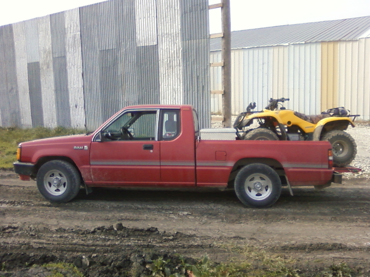 1989 Dodge Ram 50 Pickup, This is a picture of my ram 50 with my honda recon in the back.