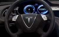 2013 Tesla Model S, Close-up of steering wheel. , interior, manufacturer