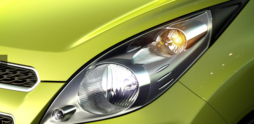 2013 Chevrolet Spark, Close-up of headlight, manufacturer, exterior
